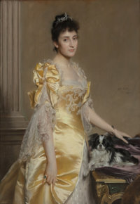 Emile Charles Wauters (Belgian, 1846-1933) Portrait of an elegant woman at three-quarter length with a papillon