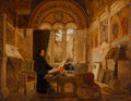 Paintings, Elmslie William Dallas (British, 1809-1879). Interior of a monastery in Italy, 1853. Oil on canvas. 28 x 36 inches (71.1...