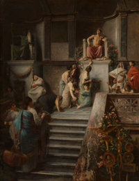 Emile Levy (French, 1826-1890) Caligula se livrant a l'adoration du peuple (Caligula indulging in the worship o