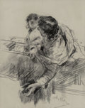 Paintings:Drawing, Antonio Mancini (Italian, 1852-1930). Couple in a boat(?), man leaning over edge. Black chalk on heavyweight light grey ...