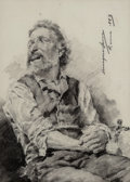 Works on Paper:Drawing, Enrique Serra Auqué (Spanish, 1859-1918). Study of a seated man holding a crucifix, 1883. Black chalk with stumping on h...