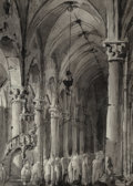Paintings:Drawing, Giovanni Migliara (Italian, 1785-1837). Sermon in a Gothic church. Black ink and washes on off-white wove paper. 6-3/8 x...