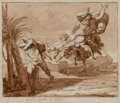 Paintings:Drawing, Niccolo Monti (Italian, 1780-1864). God cursing Cain. Black and brown ink and reddish-brown wash over some graphite on o...