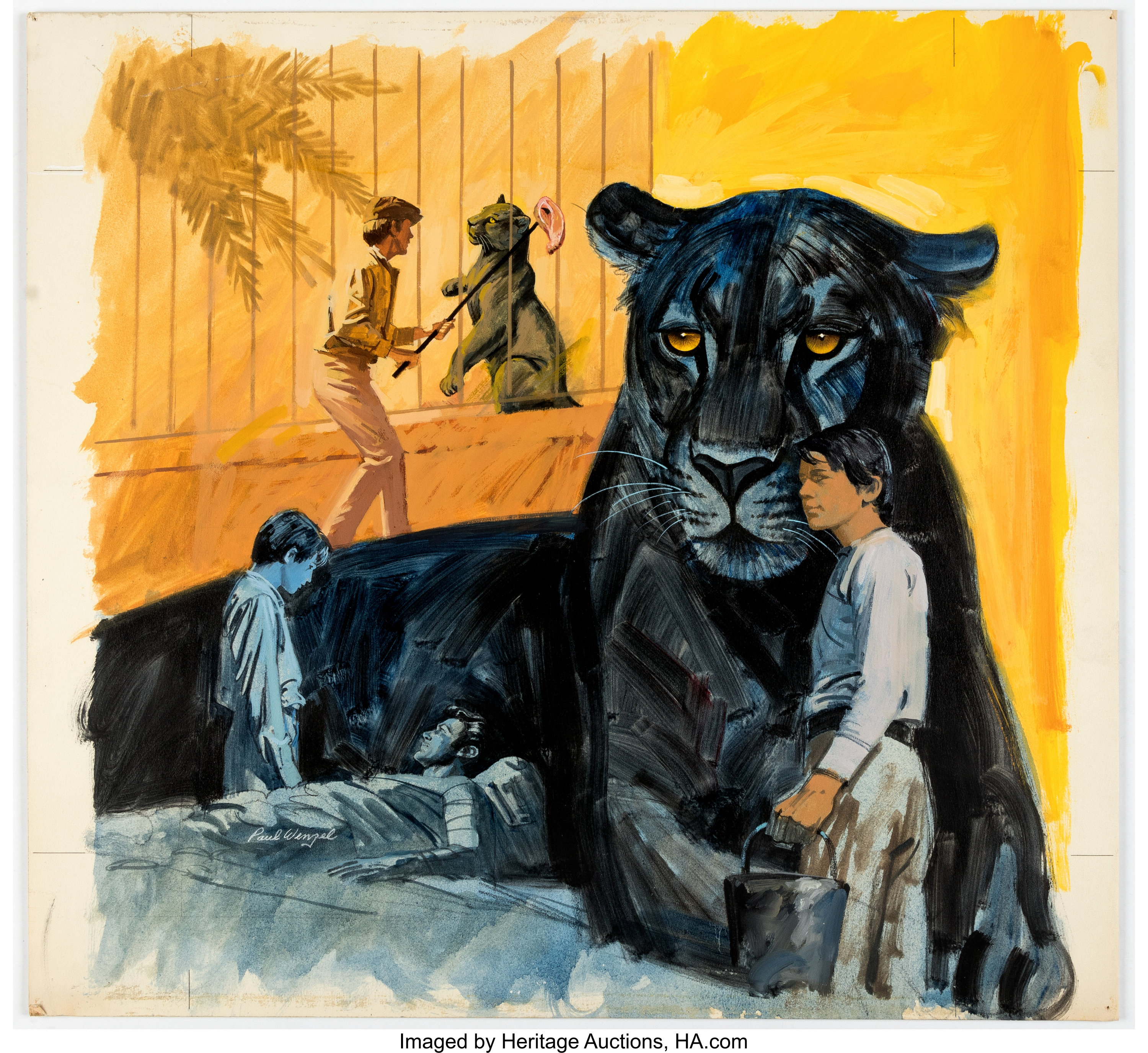 607cf9d2a5474 Paul Wenzel Disney Magazine #3 Double-Page Spread Panther Painting ...