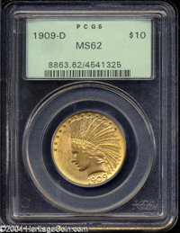 1909-D $10 MS62 PCGS. Straw-golden surfaces with ample luster. A few small milling marks dot the surfaces