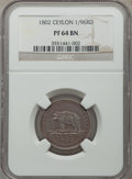 Ceylon: British Colony copper Proof 1/96 Rixdollar 1802 PR64 Brown NGC