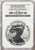 Three-Piece Silver Eagle 20th Anniversary Set. The lot includes the following: 2006-W MS70 NGC; 2006-W PR70 Ultra Cameo...