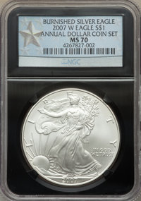 2007-W $1 Silver Eagle, Burnished, Annual Dollar Coin Set, MS70 NGC. This lot will also include a: 2007-W $1 Silver Eagl...