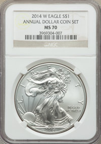 2014 $1 Silver Eagle, Annual Dollar Coin Set, MS69 NGC. This lot will also include a: 2014 $1 Silver Eagle, Annual Dol...