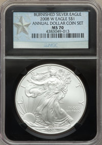 2008-W $1 Silver Eagle, Burnished, Annual Dollar Coin Set, MS69 NGC. This lot will also include a: 2008-W $1 Silver Eag...