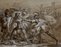 Works on Paper:Drawing, Francesco Hayez (Italian, 1791-1882). Dispute over the body of Patrocles. Brown ink and wash, black chalk and white heig...