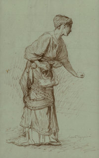 Roberto Bompiani (Italian, 1821-1908) Study of a woman holding a basket Brown ink on light blue-gree