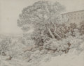 Works on Paper:Drawing, Giambattista Bassi (Italian, 1784-1852). Shepherd and flock on a hill overlooking a town; Landscape with large tree on a h... (Total: 2 Items)