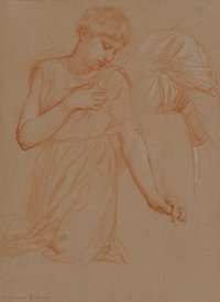 Alessandro Franchi (Italian, 1838-1914) Study for a kneeling angel Red chalk heightened with white o