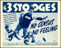 """Movie Posters:Comedy, The Three Stooges in No Census, No Feeling (Columbia, 1940). Very Fine-. Title Lobby Card (11"""" X 14"""").. ..."""