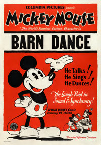 "Mickey Mouse in The Barn Dance (Columbia, 1929). Fine on Linen. Stock One Sheet (29"" X 42"")"