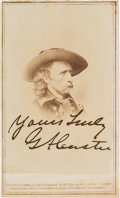 Photography:CDVs, George A. Custer Carte de Visite Signed. ...