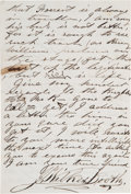 "Autographs:Celebrities, John Wilkes Booth Autograph Letter Signed ""J. W..."