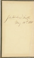 Autographs:Celebrities, John Wilkes Booth Signed Copy of Rifles and Rifle Practice, by C.M. Wilcox....