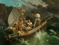 Georg Perlberg (German, 1807-1884) Fishermen Before the Storm, 1845 Oil on canvas 30-1/2 x 39-1/2