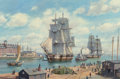 Paintings:Contemporary   (1950 to present), Roy Cross (British, b. 1924). The clipper 'Reindeer' arriving at Boston Harbor, 2007. Oil on canvas. 24 x 36 inches (61....