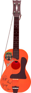 Music Memorabilia:Instruments, The Beatles New Beat Miniature Guitar With Cardboard Case (circamid-1960s). . ...