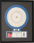 "Music Memorabilia:Awards, U2 ""The Fly"" Original Silver Metal Master Plate in Frame (Island, 1991).. ..."