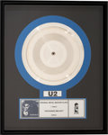 "Music Memorabilia:Awards, U2 ""Unchained Melody"" Original Silver Metal Master Plate in Frame (Island, 1988).. ..."