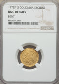 Colombia, Colombia: Charles III gold Escudo 1772 P-JS UNC Details (Bent)NGC,...
