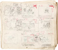 "Animation Art:Production Drawing, Les Aventures de Tintin, d'après Hergé Storyboards pour ""Objectif Lune"" (Studios Belvision, 1957).... (Total: 13 Original Art)"
