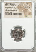 Ancients:Roman Imperial, Ancients: Augustus (27 BC-AD 14). AR denarius (19mm, 3.67 gm, 7h). NGC VF 4/5 - 5/5....
