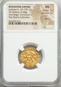 Ancients:Byzantine, Ancients: Justinian II Rhinotmetus, second reign (AD 705-711). AV solidus (18mm, 4.08 gm, 6h). NGC MS 2/5 - 3/5, clipped. ...