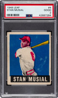 Baseball Cards:Singles (1940-1949), 1948 Leaf Stan Musial #4 PSA Good 2. Offered is a ...
