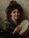 Paintings:Antique (Pre 1900), Federigo Andreotti (Italian, 1847-1930). Girl with a Tambourine. Oil on canvas. 26 x 19-1/4 inches (66.0 x 48.9 cm). Sig...