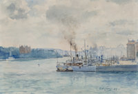 Gunnar Mauritz Widforss (Swedish, 1879-1934) On the River, 1908 Watercolor on paper 7-3/4 x 11-1/4 inches (19.7 x 28