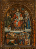 Paintings, A Greek Tempera on Carved Wood Panel Icon Depicting Christ Pantokrator with Scenes of the Annunciation and the Presentation of...