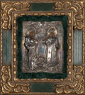 Decorative Arts, Continental, A Russian Repoussé, Chased, and Engraved Silver Oklad Icon of SaintAnna and Saint Peter Attributed to Andrei Stepanovich Brag...