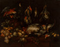 Fine Art - Painting, European, Circle of Jan Fyt (Flemish). Still Life with Parrot and Hanging Fowl. Oil on canvas. 32-1/2 x 41 inches (82.6 x 104.1 cm...