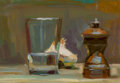 Fine Art - Painting, American, Jacob Collins (American, b. 1964). Group of Three StillLifes (3 works), 1992. Oil on canvas, each. 20 x 25 inches(50.8... (Total: 3 Items)