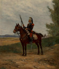 Paintings:Antique  (Pre 1900), Alphonse Marie de Neuville (French, 1835-1885). French Cavalry Officer. Oil on panel. 12-3/8 x 10-3/8 inches (31.4 x 26....
