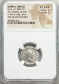 Ancients:Roman Imperial, Ancients: Geta, as Augustus (AD 209-211). AR denarius (19mm, 3.29 gm, 1h). NGC Choice AU★ 5/5 - 5/5....