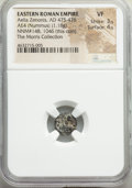 Ancients:Roman Imperial, Ancients: Aelia Zenonis, Eastern Roman Empire (AD 475-476). AE4 or nummus (10mm, 1.18 gm, 1h). NGC VF 3/5 - 4/5....