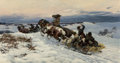 Fine Art - Painting, European:Antique  (Pre 1900), Bohdan von Kleczynski (Polish, 1851-1916). Return from thehunt, 1887. Oil on canvas. 36-3/4 x 19-1/2 inches (93.3 x49....