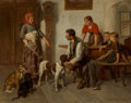 Paintings:Antique  (Pre 1900), Adolf Eberle (German, 1843-1914). The dog seller. Oil on canvas. 22 x 27-1/4 inches (55.9 x 69.2 cm). Signed and inscrib...