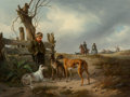 Paintings, Carl Friedrich Schulz (German, 1796-1866). Young boy resting beside a fence with hunting dogs, 1835. Oil on canvas. 19-3...