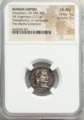 Ancients:Roman Imperial, Diocletian (AD 284-305). AR argenteus Thessalonica...