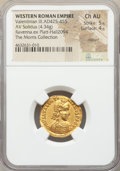 Ancients:Roman Imperial, Ancients: Valentinian III, Western Roman Empire (AD 425-455). AV solidus (21mm, 4.34 gm, 2h). NGC Choice AU 5/5 - 4/5, clipped....