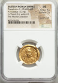 Ancients:Roman Imperial, Ancients: Theodosius II, Eastern Roman Empire (AD 402-450). AV solidus (22mm, 4.37 gm, 7h). NGC MS 5/5 - 3/5, punch mark....