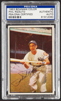 Signed 1953 Bowman Color Phil Rizzuto #9 PSA/DNA Authentic