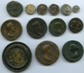 Ancients:Ancient Lots , Ancients: ANCIENT LOTS. Roman Mixed. Lot of 13 various Roman issues - contorniate, medallions, denarii, lead tokens.... (Total: 13 coins)